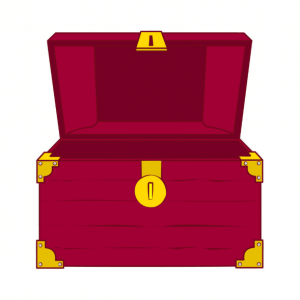 illustration of red colored treasure chest