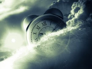 picture of a clock in the clouds