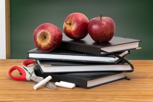 image of apples on top of books