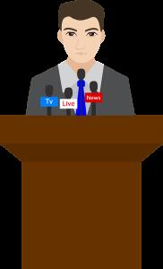 illustration of man on podium